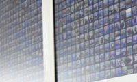 Grote applicatie muur van cinema displays op WWDC