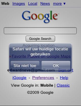 Google Locatie toestaan