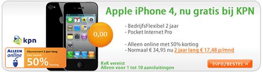 Gratis iPhone 4 met goedkoop KPN abonnement