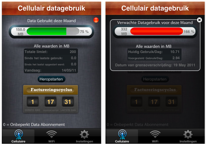 iphone data verbruik