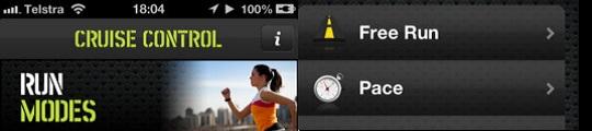 Cruise Control iPhone app past muzieksnelheid aan op looptempo