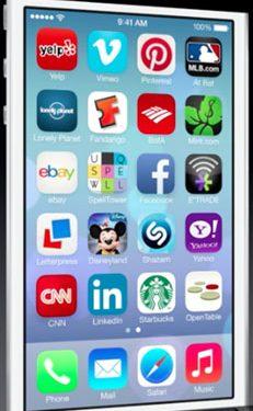 App iconen in iOS 7 en iOS 6 naast elkaar