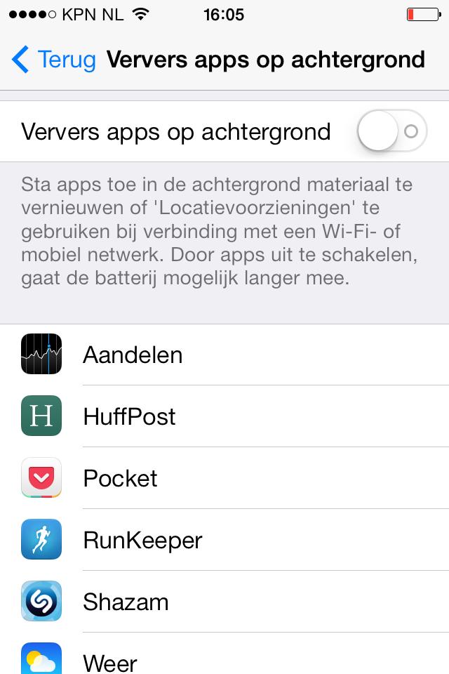 iOS 7 batterijtips