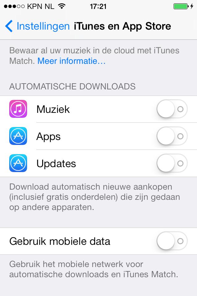 iPhone apps automatisch