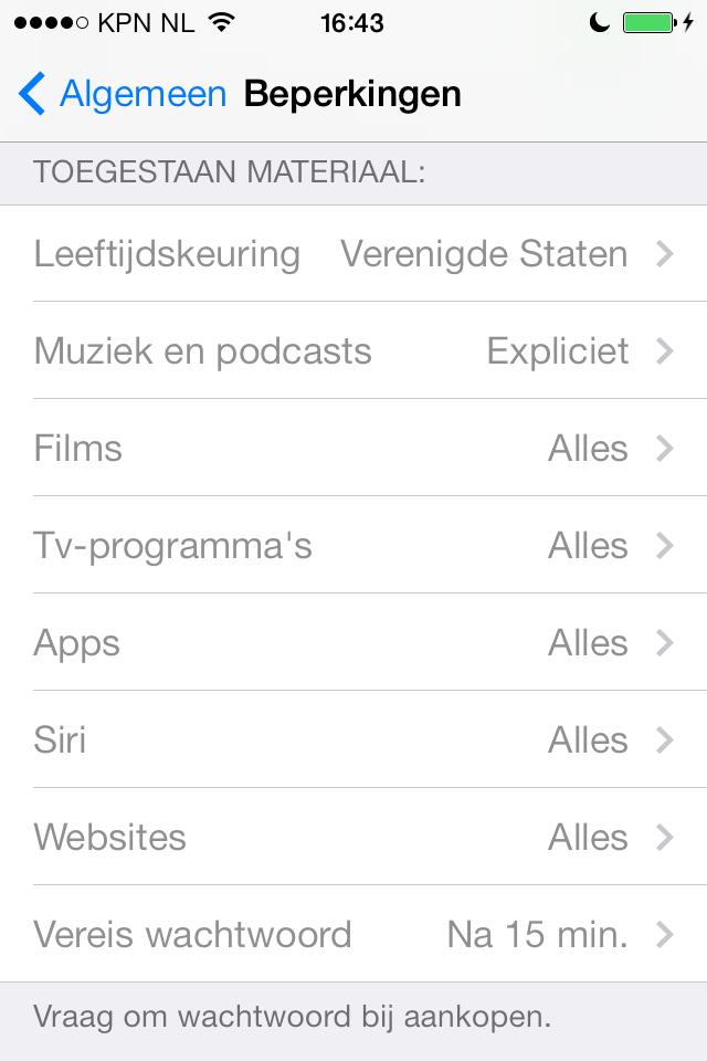 iPhone apps beperken