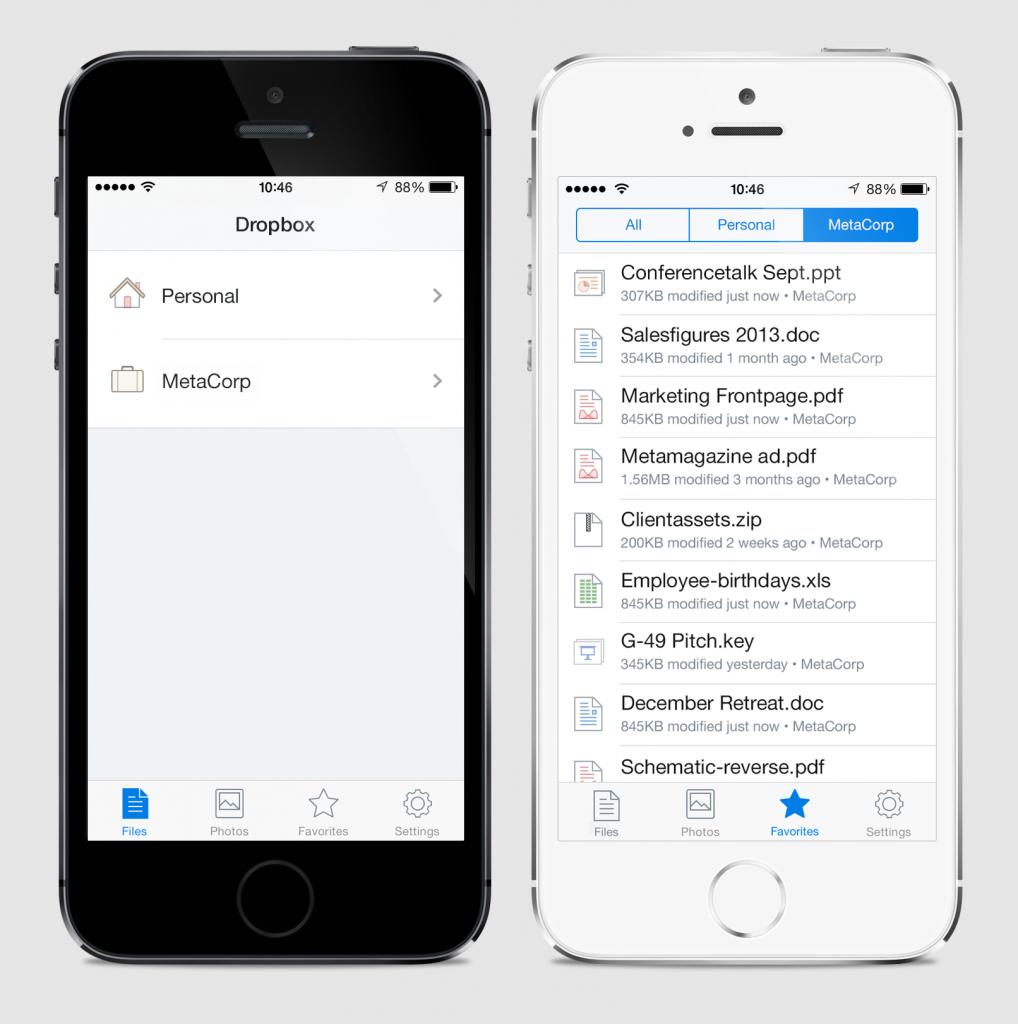 Dropbox iOS 7 app