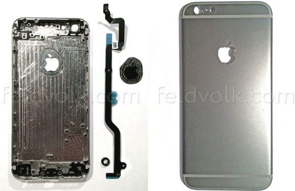 iPhone 6 plaatjes tonen krasbestendig Apple-logo en cameralens met ring