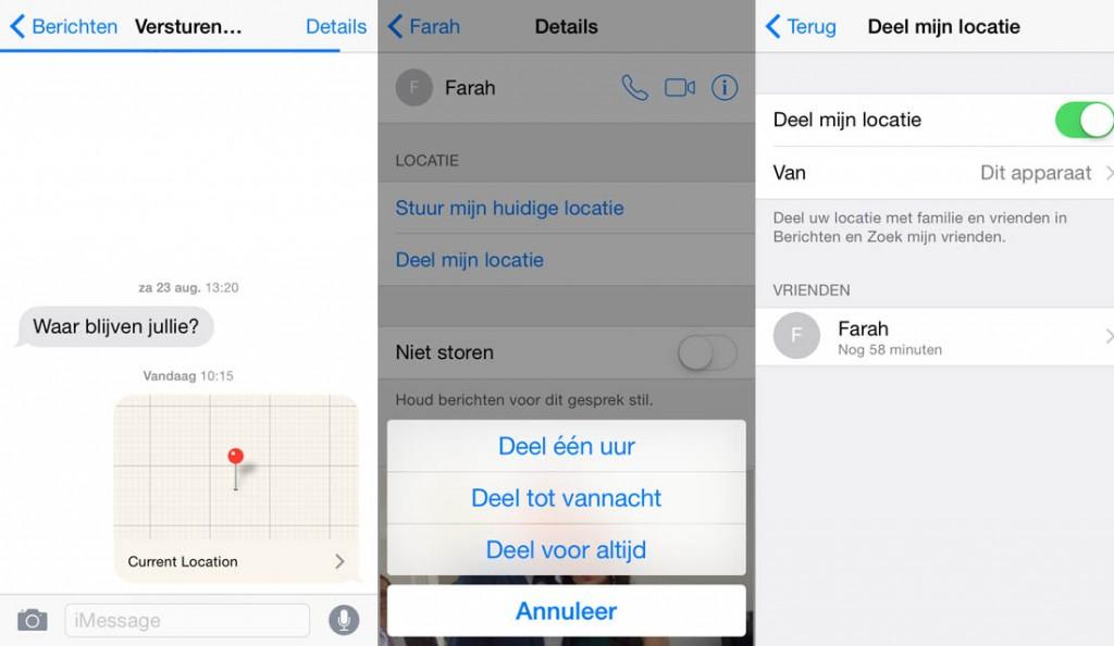 iOS 8 locatie delen