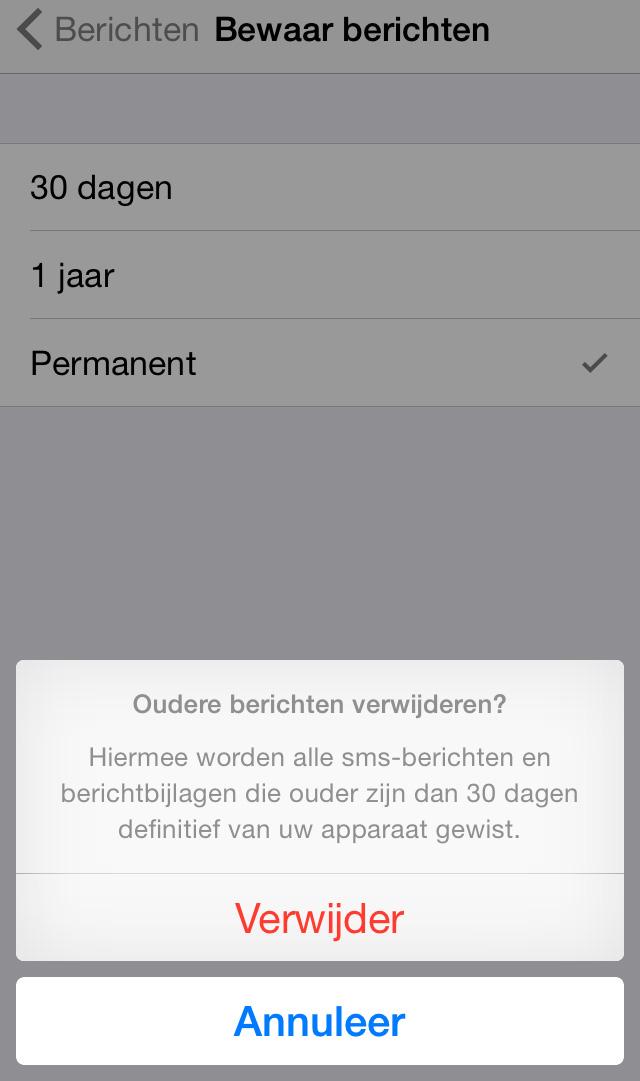 automatisch iphone berichten verwijderen
