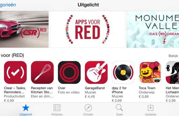 Apple maakt een vuist tegen aids met roodgekleurde App Store