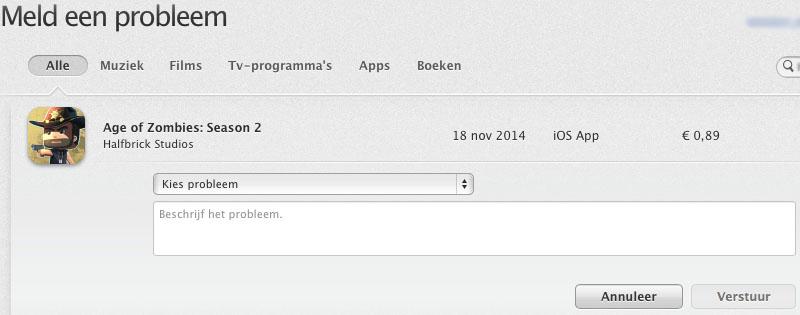 iTunes terugbetaling