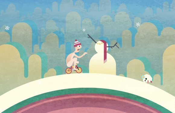 Fiets door een prachtige ijswereld met platformgame Icycle