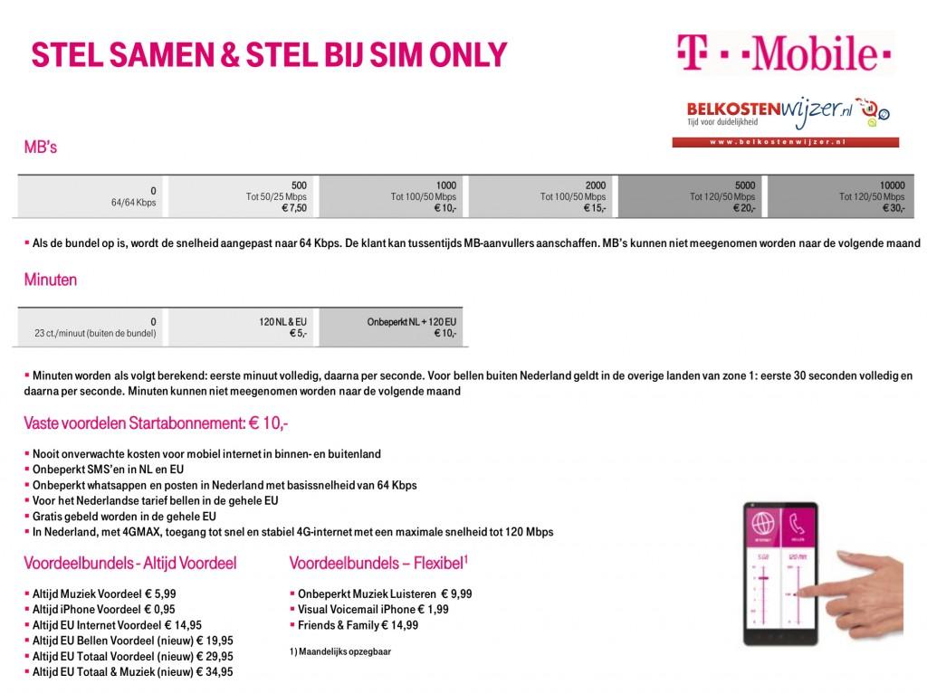 t-mobile prijzen