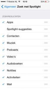 spotlight-suggesties uitschakelen