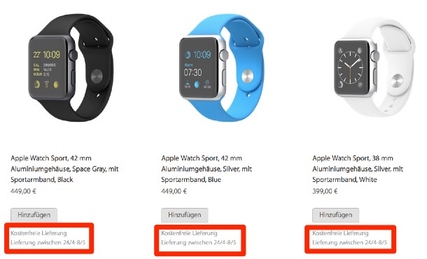 apple watch levertijd