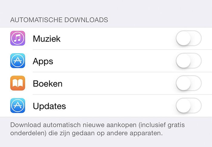 automatische downloads op ios