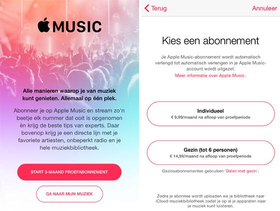 apple music prijzen