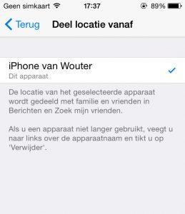 iOS locatie delen