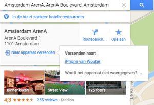 Google Maps locaties verzenden