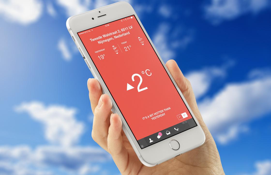 Deze weer-app toont of het warmer of kouder is dan gisteren