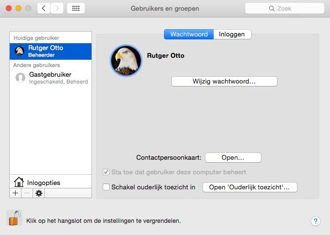mac-gebruikers instellen
