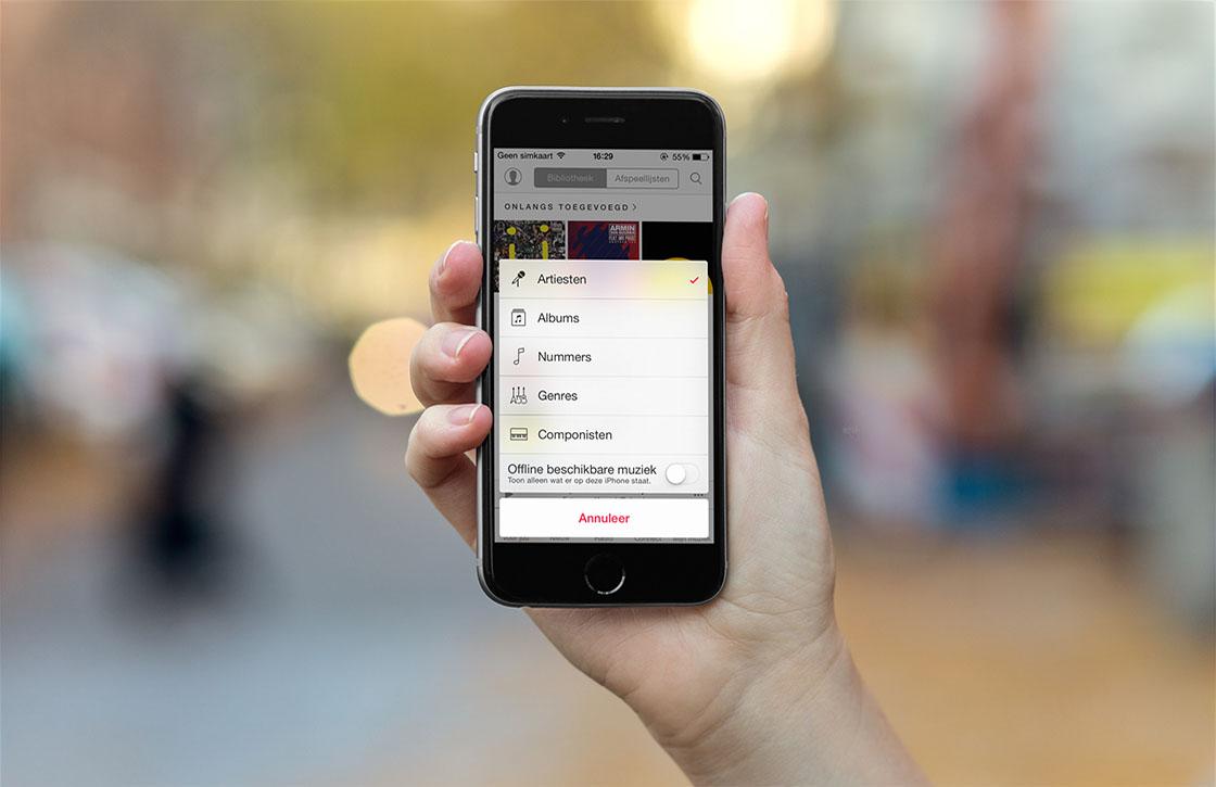 Tip: alleen offline beschikbare muziek tonen in de Muziek-app
