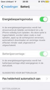 iOS 9 batterijbesparende modus