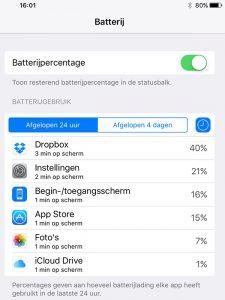 iOS 9 batterijgebruik