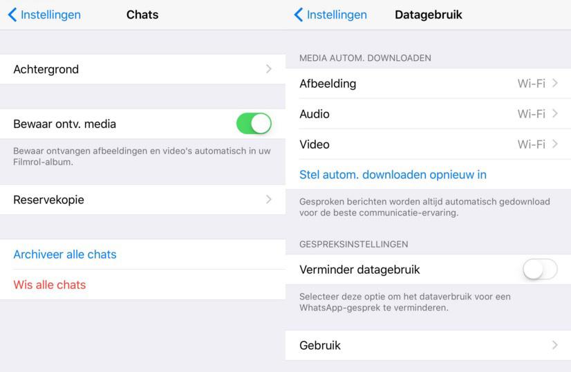 whatsapp datagebruik