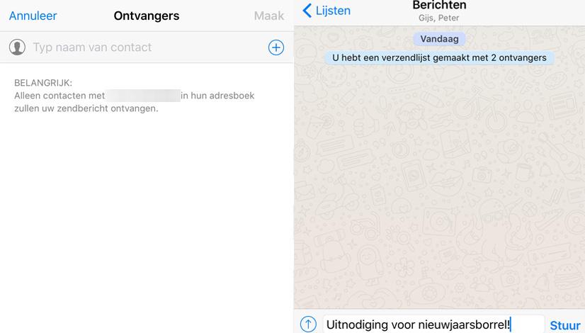 whatsapp verzendlijsten