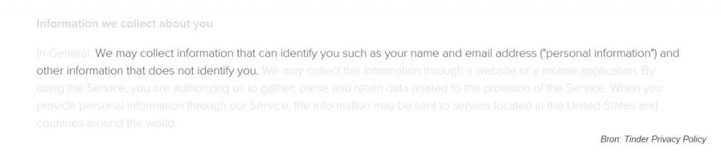 Tinder schendt privacy