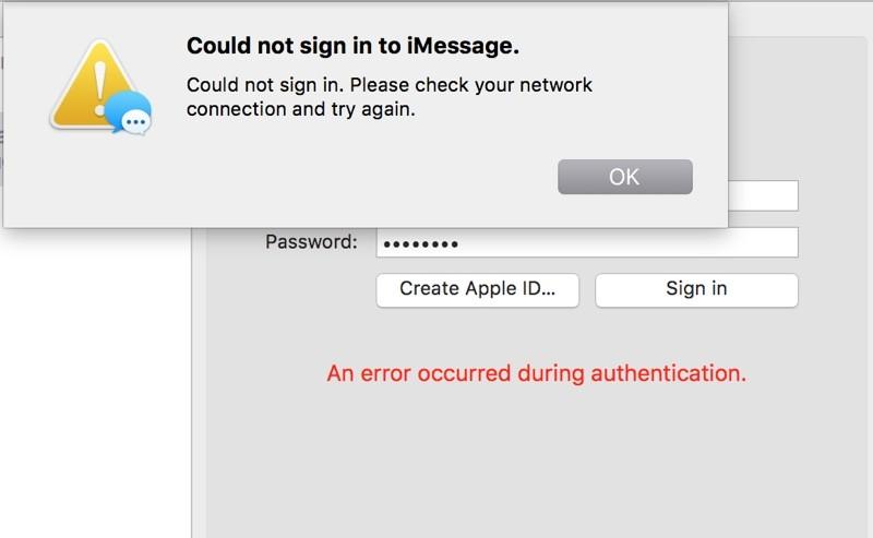 iMessage OS X 10.11.4 inlogproblemen