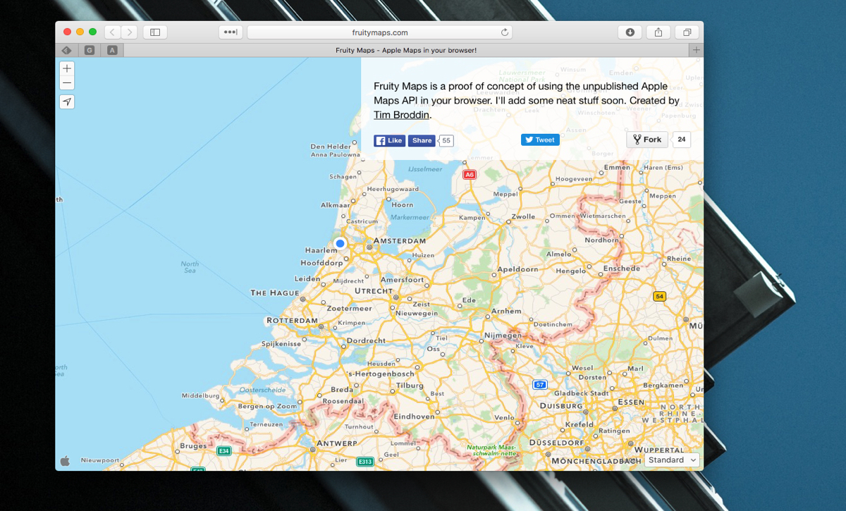 Met Fruity Maps gebruik je Apple Maps in je browser