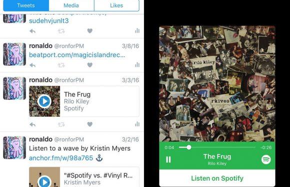 Spotify-fragmenten vanuit Twitter-tijdlijn te beluisteren