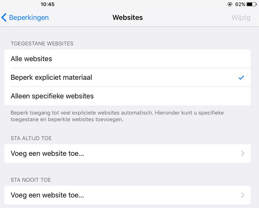 websites blokkeren