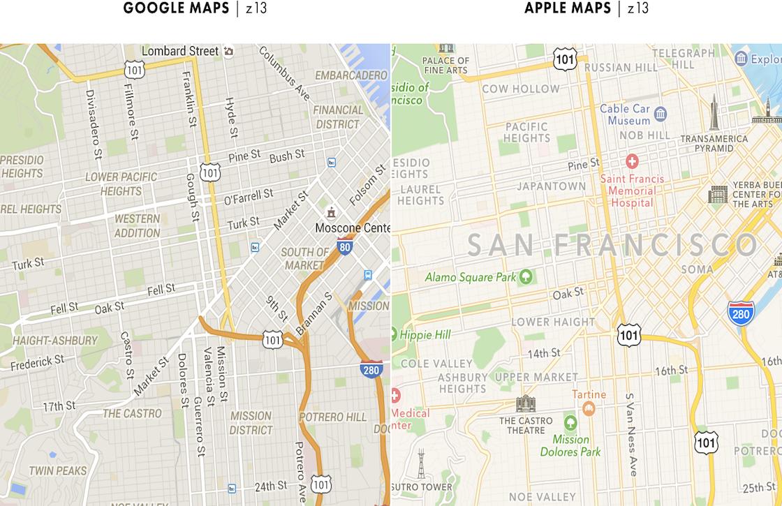 Onderzoeker brengt verschillen Google Maps en Apple Maps in kaart