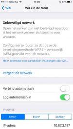 iOS 10 WiFi Waarschuwing