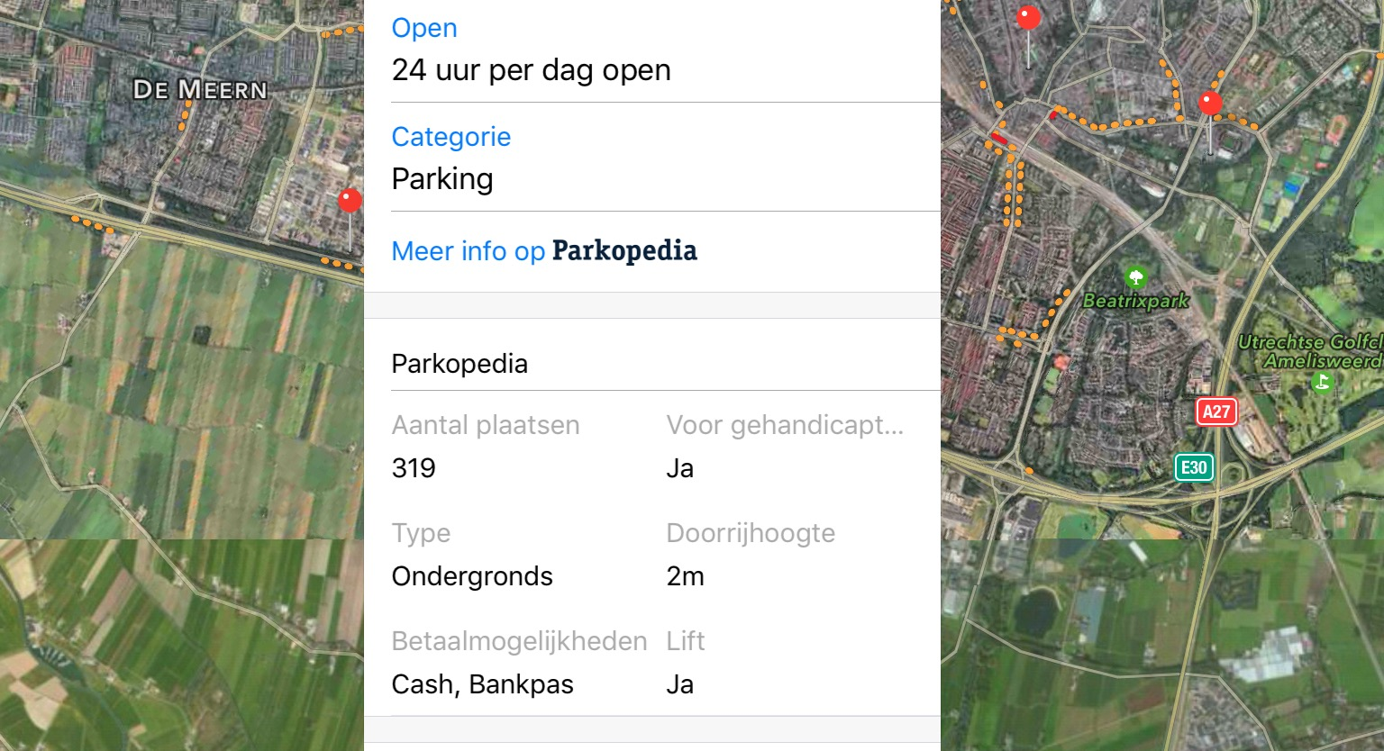 apple kaarten parkeerplaatsen
