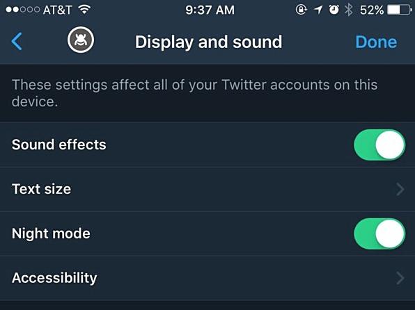 Twitter Night Mode iOS