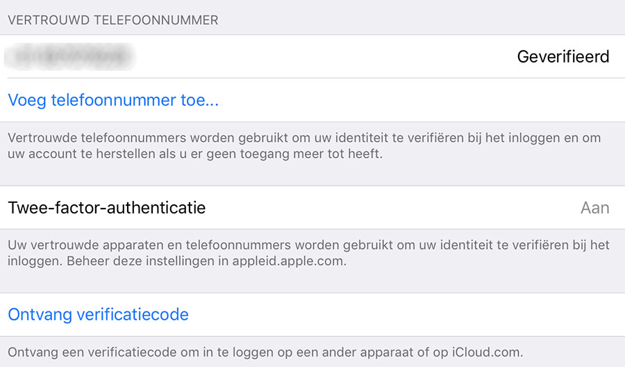 ios 10.3 tweefactorauthenticatie