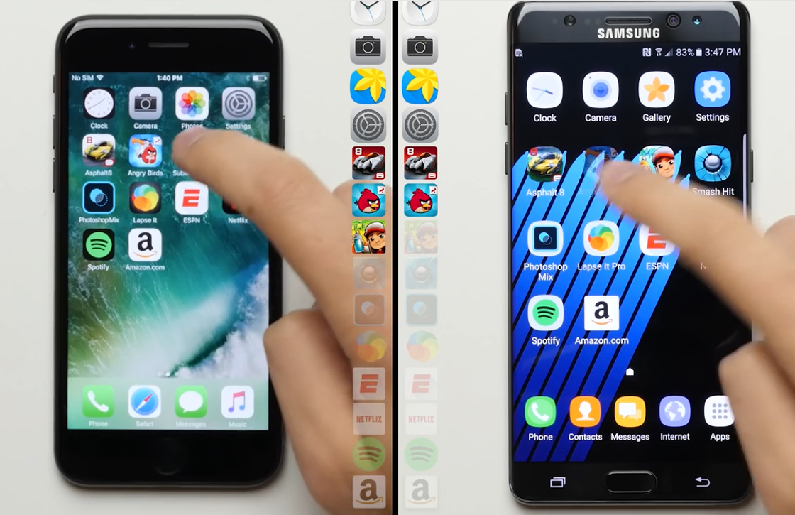 Video: iPhone 7 laat Galaxy Note 7 stof happen in snelheidstest