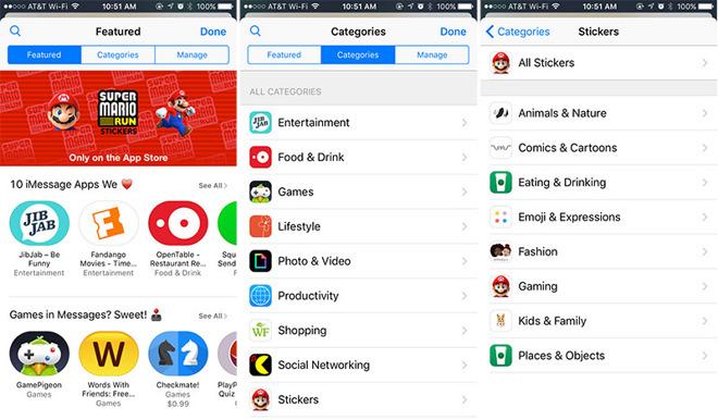 imessage app store categorieen