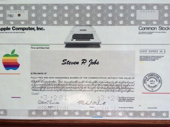 steve jobs certificaat