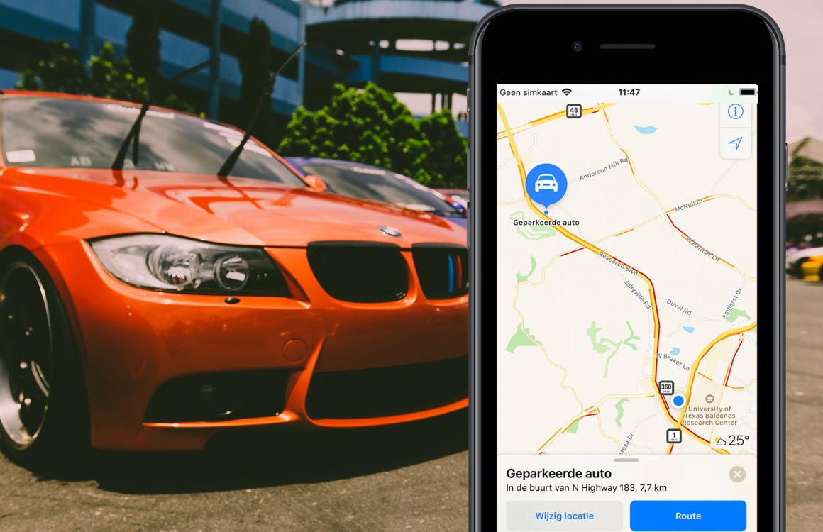Geparkeerde auto vinden met iPhone 4
