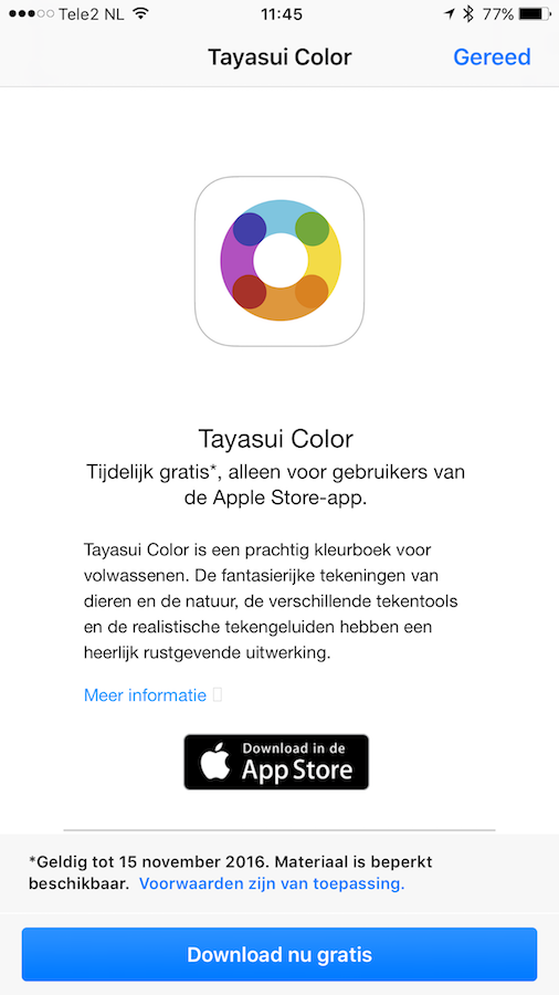 Tayasui Color gratis downloaden met de Apple Store-app