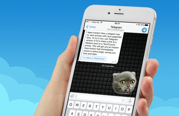 Telegram maakt app sneller met Instant View en meer