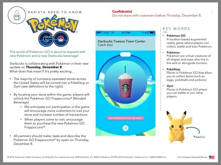 Pokémon GO starbucks