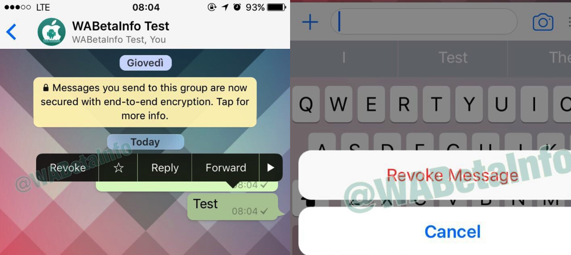 WhatsApp verwijderfunctie