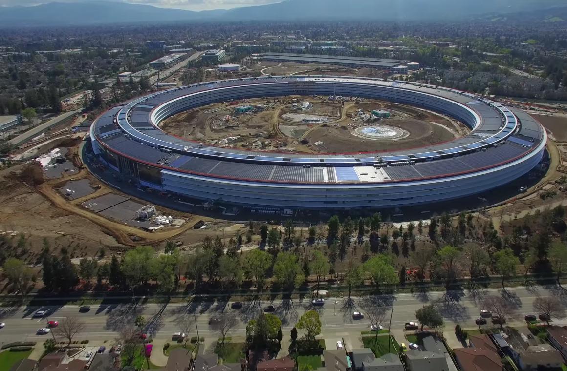 Dronebeelden tonen het bijna complete Apple Park