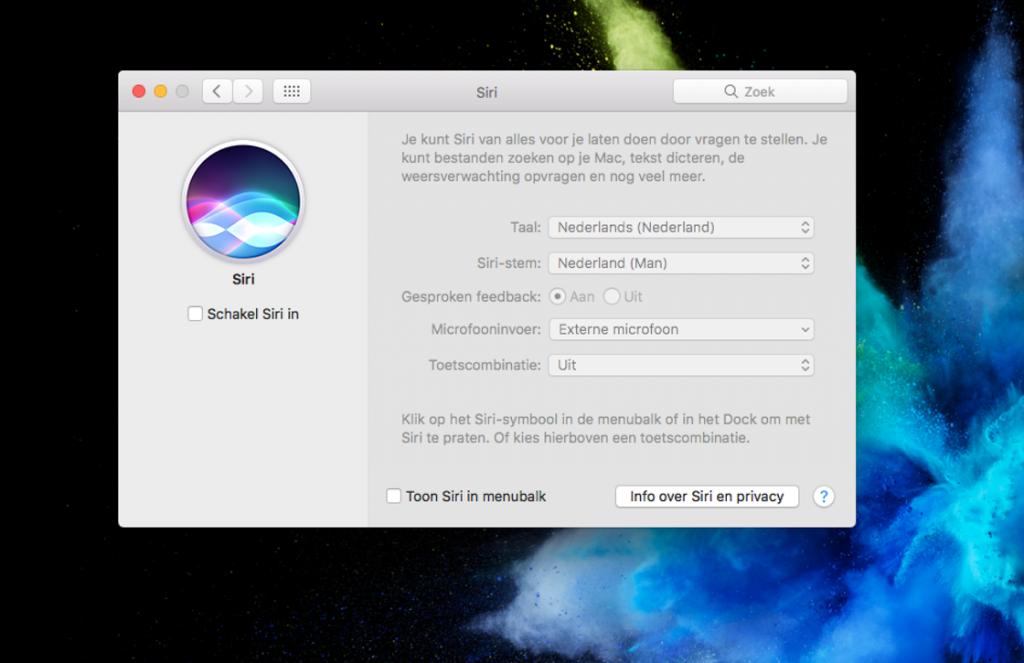 Siri uitzetten Mac
